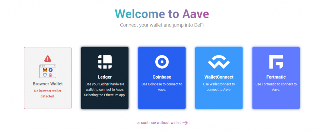 Aave deposit page