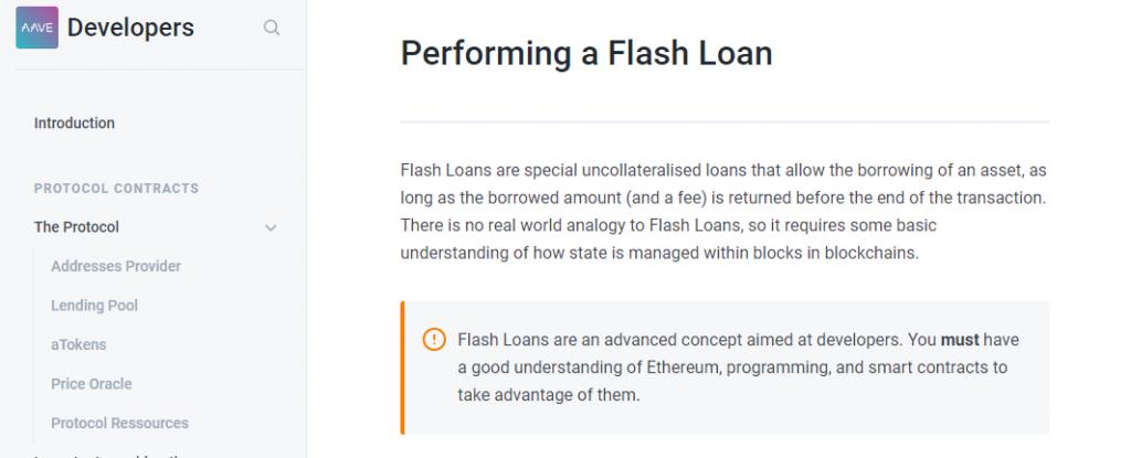 Aave flash loan documentation